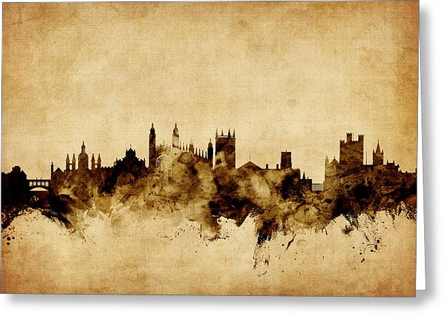 Cambridge Greeting Cards - Cambridge England Skyline Greeting Card by Michael Tompsett