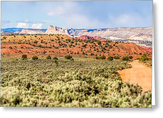 Sand Patterns Greeting Cards - Canyon Mountains Formations Panoramic Views Near Paria Utah Park Greeting Card by Alexandr Grichenko