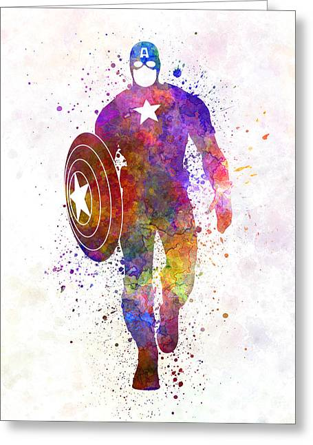 Captain America In Watercolor Greeting Card by Pablo Romero