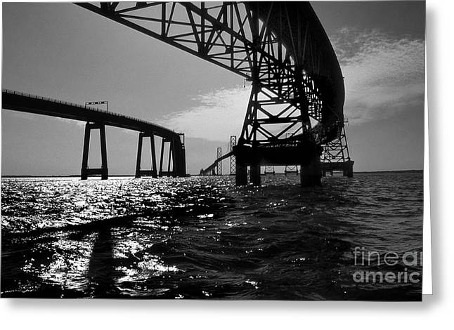 Beach Photography Greeting Cards - Chesapeake Bay Bridge Greeting Card by Skip Willits