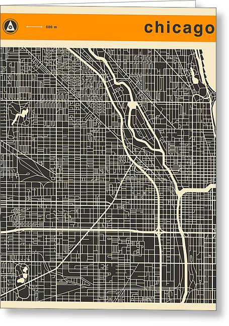 Chicago Prints Greeting Cards - Chicago Map Greeting Card by Jazzberry Blue