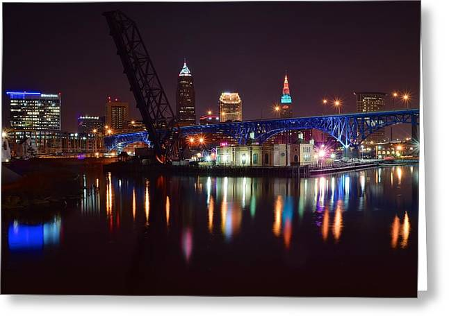 Cruise Terminal Greeting Cards - Cleveland over the Cuyahoga Greeting Card by Frozen in Time Fine Art Photography
