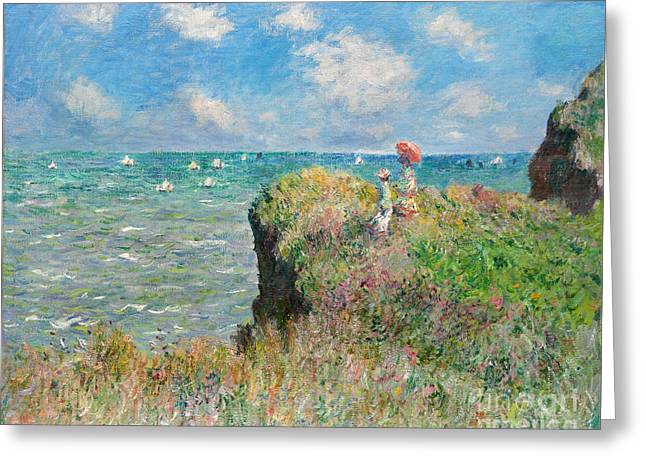 Vintage Painter Greeting Cards - Cliff Walk at Pourville Greeting Card by Claude Monet