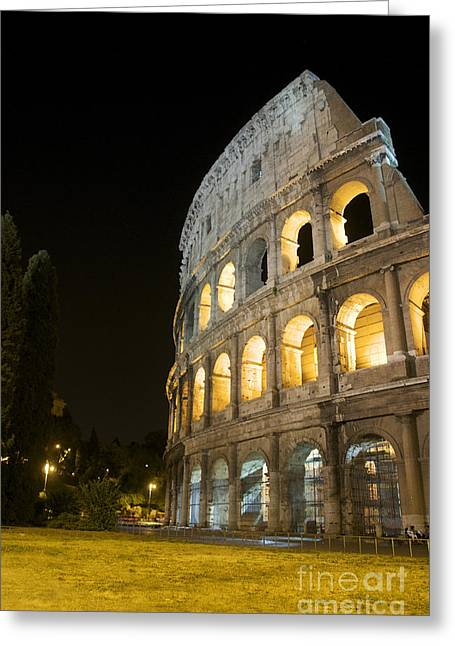 Amphitheater Greeting Cards - Coliseum illuminated at night. Rome Greeting Card by Bernard Jaubert