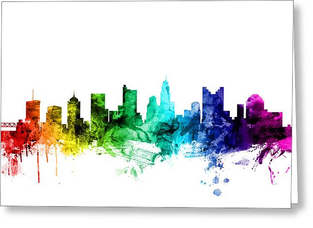 Columbus Ohio Skyline Greeting Card by Michael Tompsett