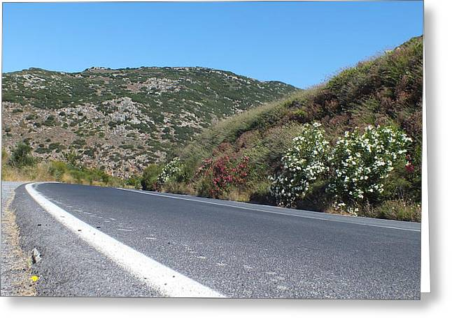 Mountain Road Greeting Cards - Crete Greeting Card by Vito Dev