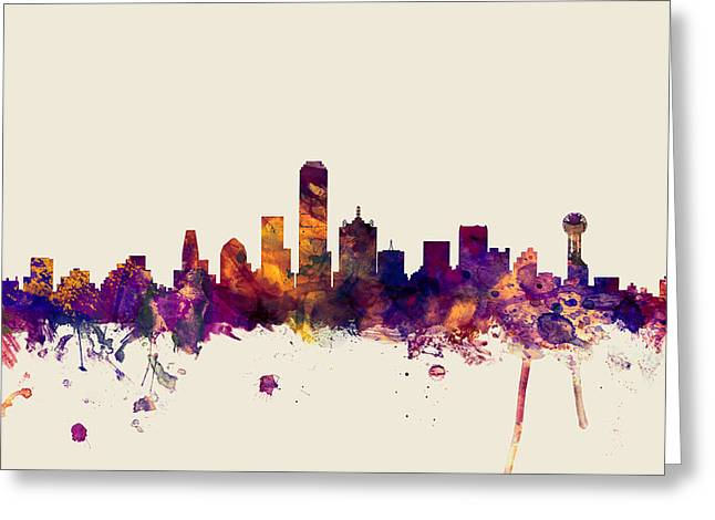Dallas Skyline Greeting Cards - Dallas Texas Skyline Greeting Card by Michael Tompsett