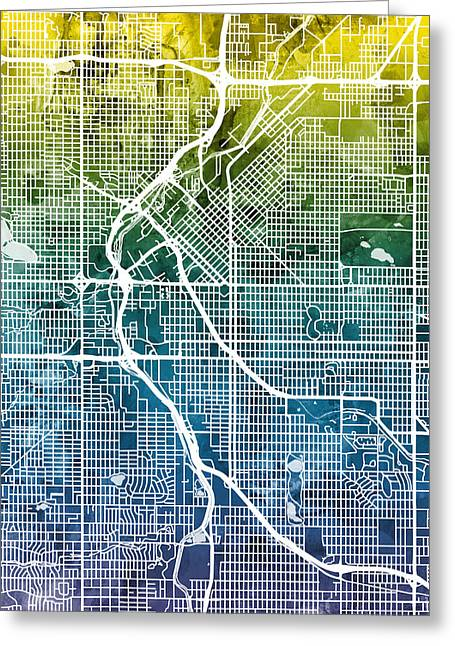 Colorado Greeting Cards - Denver Colorado Street Map Greeting Card by Michael Tompsett