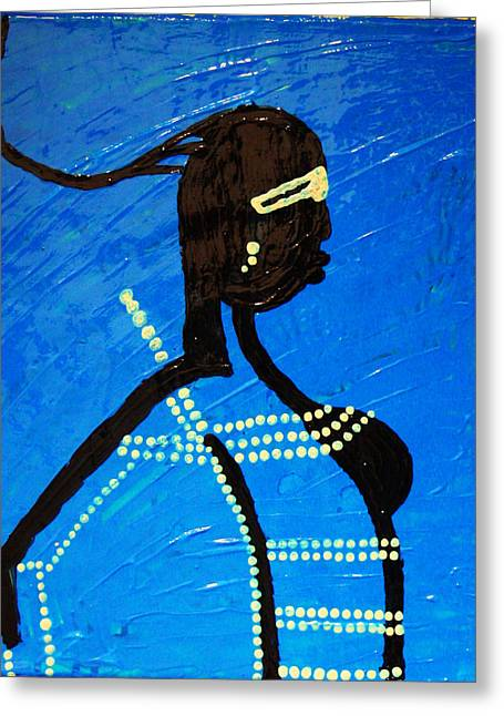 Girl Ceramics Greeting Cards - Dinka Lady - South Sudan Greeting Card by Gloria Ssali