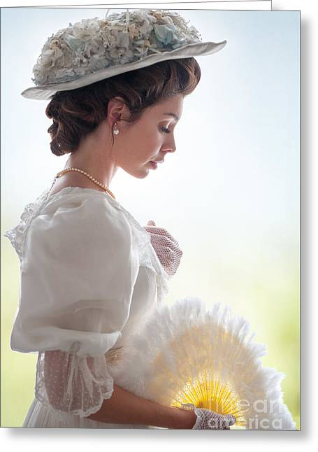 Ostrich Fan Greeting Cards - Edwardian Woman  Greeting Card by Lee Avison