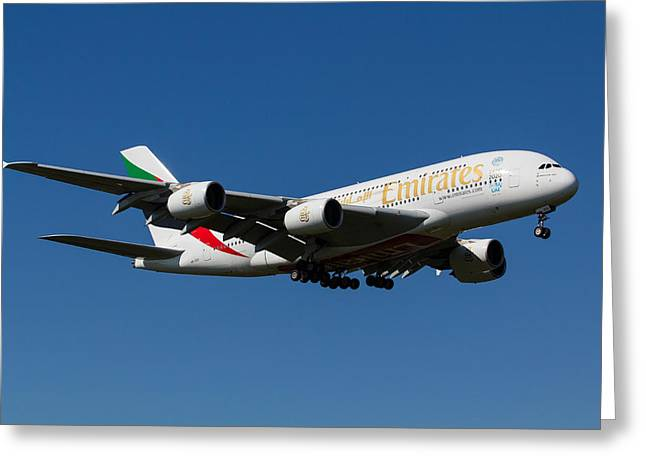 A380 Greeting Cards - Emirates Airbus A380 Greeting Card by David Pyatt