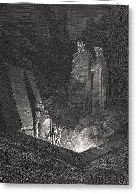 Torment Greeting Cards - Engraving By Gustave Dore 1832-1883 Greeting Card by Ken Welsh