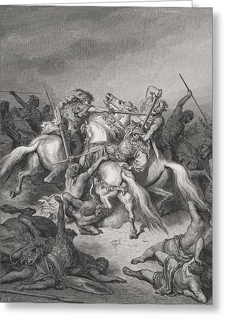 Rescue Drawings Greeting Cards - Engraving From The The Dore Bible Greeting Card by Ken Welsh