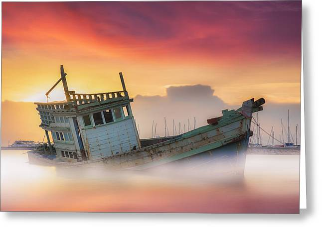 Plunging Greeting Cards - Fishing boat beached  Greeting Card by Anek Suwannaphoom