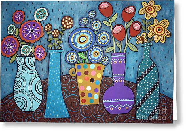 Unique Art Paintings Greeting Cards - 5 Flower Pots Greeting Card by Karla Gerard