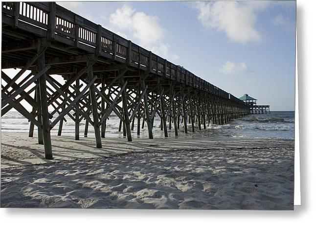 Ocean Landscape Greeting Cards - Folly Beach Pier Greeting Card by Dustin K Ryan