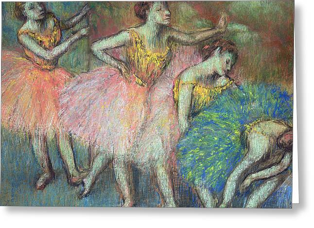 Performers Pastels Greeting Cards - Four Dancers Greeting Card by Edgar Degas