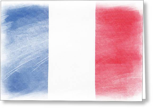French Flag Greeting Card by Les Cunliffe