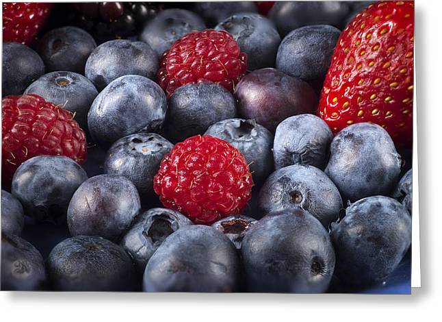 Strawberry Art Greeting Cards - Freshly Picked Mixed Berries Greeting Card by Donald  Erickson