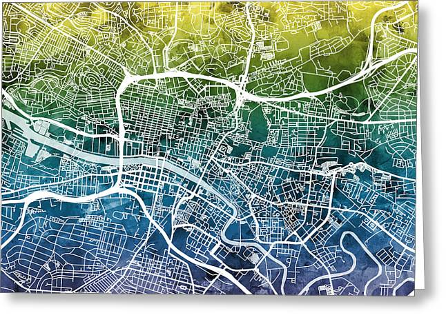 Streets Greeting Cards - Glasgow Street Map Greeting Card by Michael Tompsett
