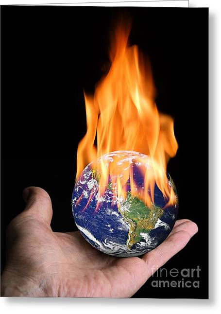 Heating Up Greeting Cards - Global Warming, Conceptual Artwork Greeting Card by Victor de Schwanberg