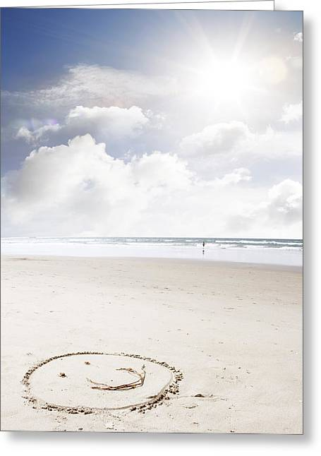 Ocean Beach Photos Greeting Cards - Happiness Greeting Card by Les Cunliffe