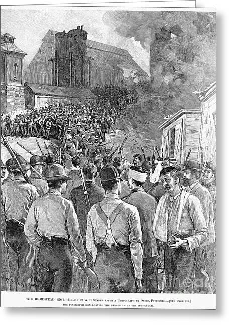 Suspenders Greeting Cards - Homestead Strike, 1892 Greeting Card by Granger