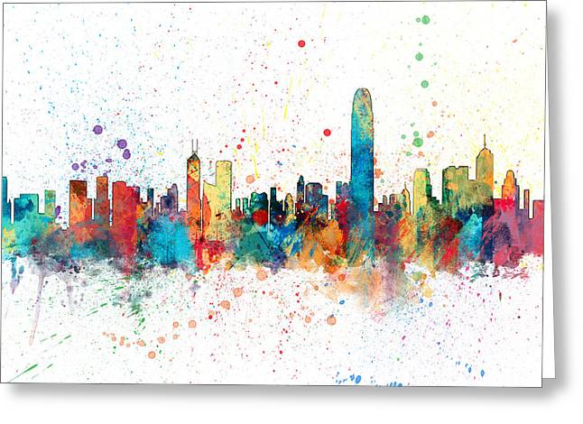 Hong Kong Skyline Greeting Card by Michael Tompsett