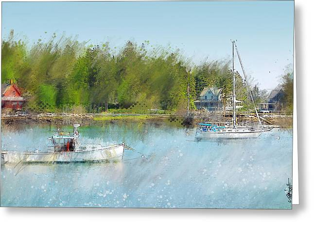 Coastal Maine Greeting Cards - 5 Islands Bay in Maine Greeting Card by James Metcalf