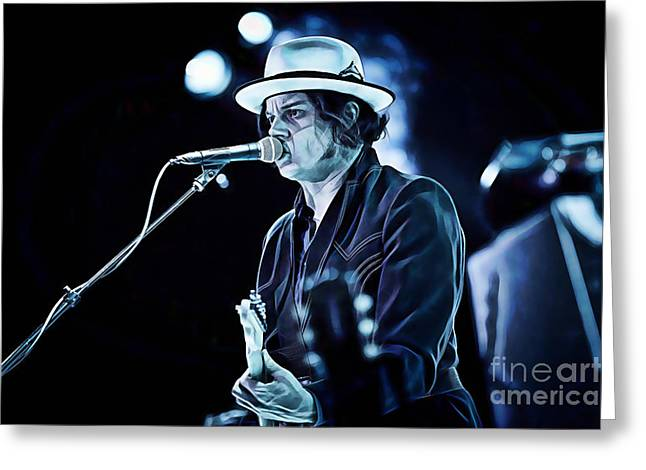 Rock And Roll Mixed Media Greeting Cards - Jack White Collection Greeting Card by Marvin Blaine