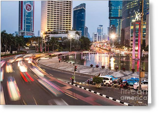 Exposure Greeting Cards - Jakarta night rush Greeting Card by Didier Marti