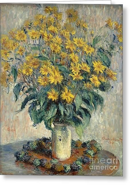 Artichoke Greeting Cards - Jerusalem Artichoke Flowers Greeting Card by Claude Monet