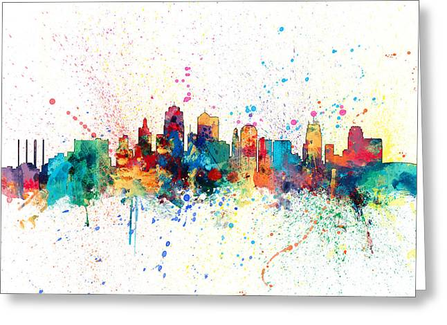 Kansas City Skyline Greeting Cards - Kansas City Skyline Greeting Card by Michael Tompsett