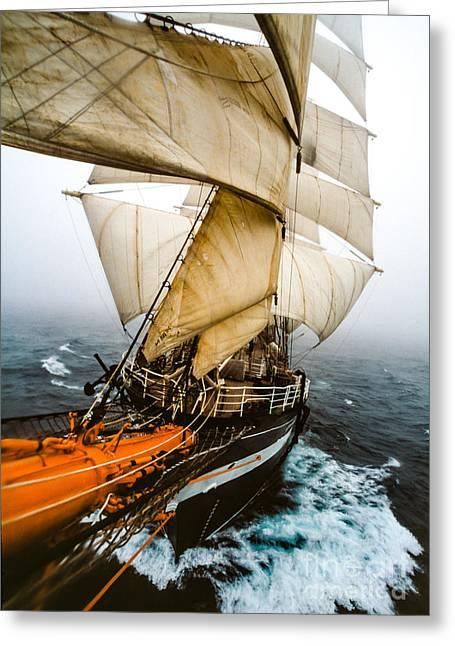 Wooden Ship Greeting Cards - Kruzenshtern EX. Padua four-masted barque Russia Greeting Card by Maslyaev Yury
