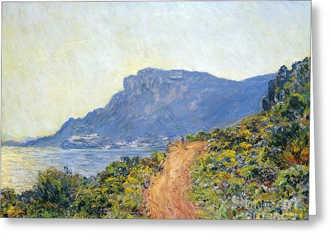 Vintage Painter Greeting Cards - La Corniche near Monaco Greeting Card by Claude Monet