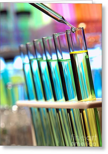 Chemicals Greeting Cards - Laboratory Experiment in Science Research Lab Greeting Card by Olivier Le Queinec