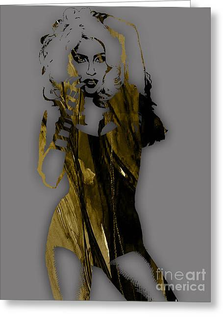Stars Greeting Cards - Lady Gaga Collection Greeting Card by Marvin Blaine