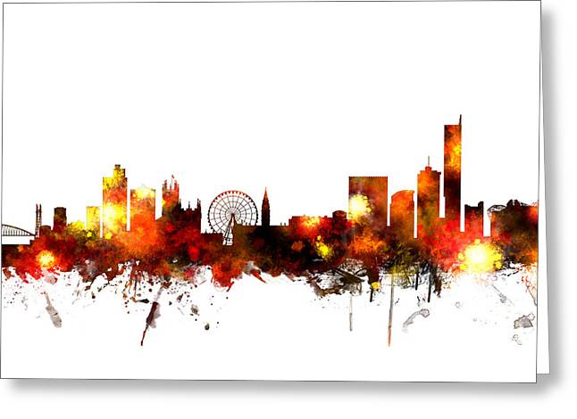 Manchester England Skyline Greeting Card by Michael Tompsett