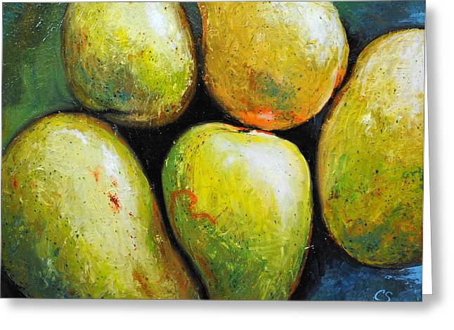 Mangoes Greeting Cards - 5 Mangos Greeting Card by Chris Steinken