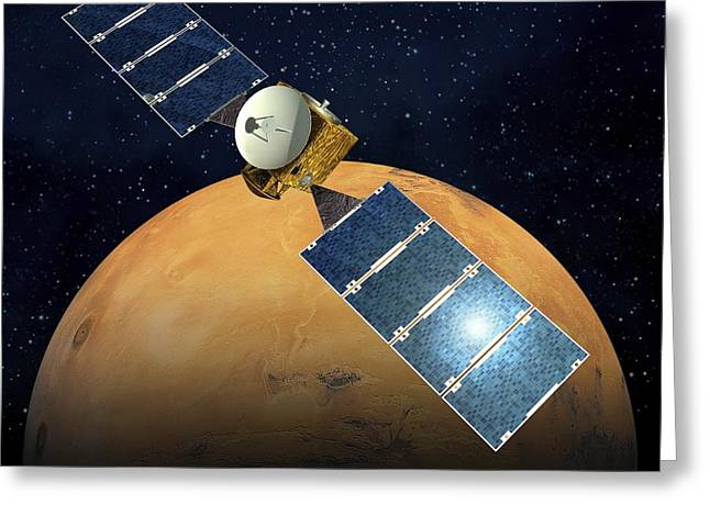 Express Greeting Cards - Mars Express Mission, Artwork Greeting Card by David Ducros
