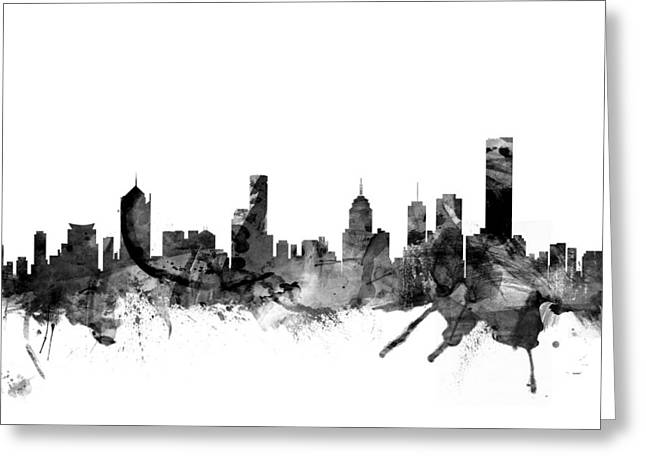 Australian Poster Greeting Cards - Melbourne Skyline Greeting Card by Michael Tompsett