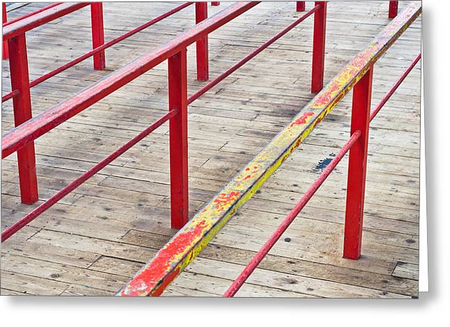 Wooden Platform Greeting Cards - Metal railings Greeting Card by Tom Gowanlock