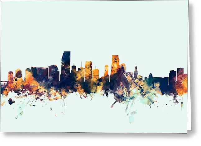 Miami Florida Skyline Greeting Card by Michael Tompsett