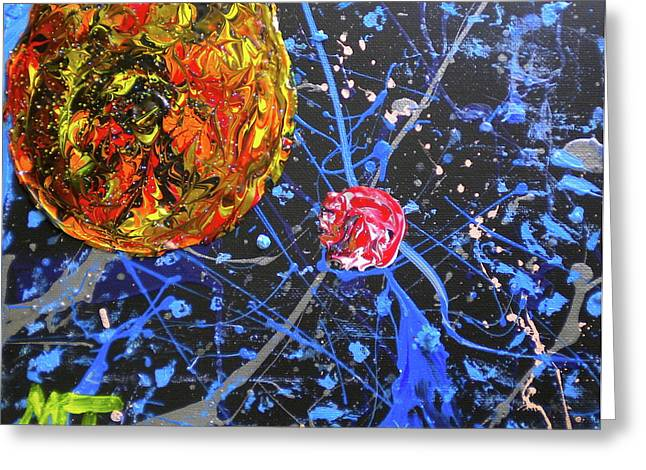 Sublunary World Paintings Greeting Cards - Midnight Transit Planet Greeting Card by Dylan Chambers