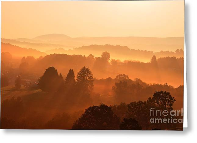 Allegheny Greeting Cards - Misty Mountain Sunrise Greeting Card by Thomas R Fletcher
