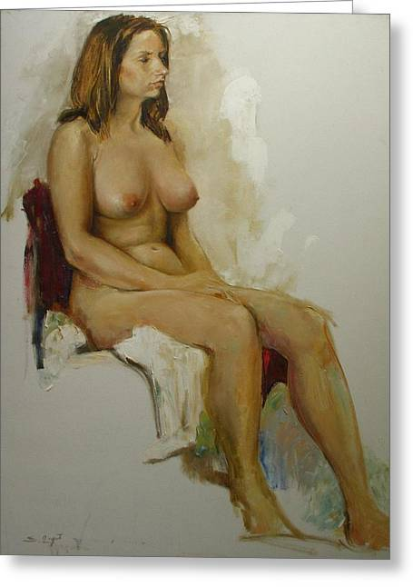 Femme Greeting Cards - Model study Greeting Card by Tigran Ghulyan