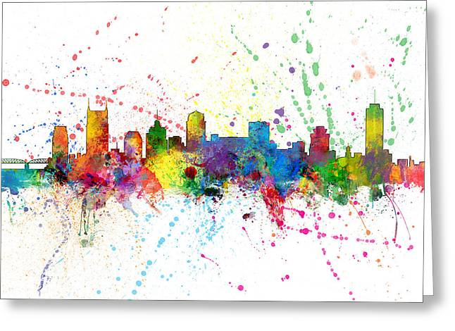 Nashville Greeting Cards - Nashville Tennessee Skyline Greeting Card by Michael Tompsett