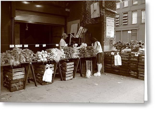 Proprietor Greeting Cards - New York City Market Greeting Card by Frank Romeo