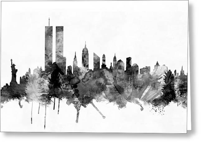 New York City Skyline Greeting Card by Michael Tompsett