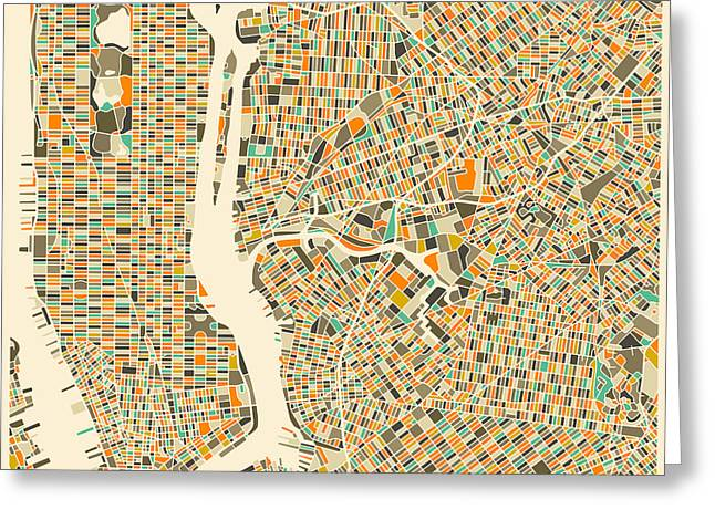 New York Street Greeting Cards - New York Map Greeting Card by Jazzberry Blue